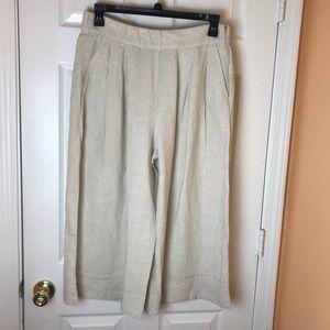 Gap Wide Leg Tan Linen Crop Pants.